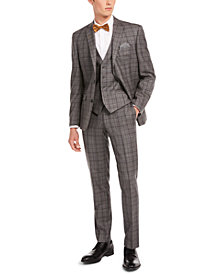 Bar III Men's Slim-Fit Gray/Brown Plaid Suit Separates, Created for Macy's