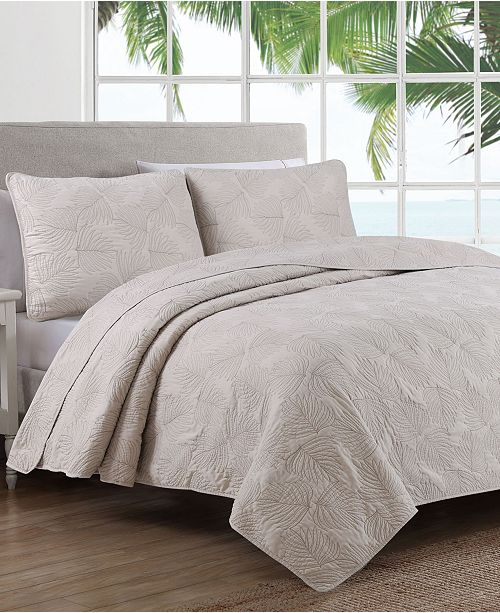 American Home Fashion Estate Leaf Stitch Twin 2 Piece Quilt Set