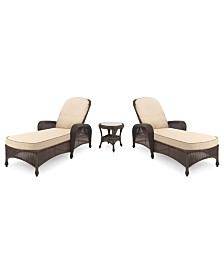 Monterey Outdoor Wicker 3-Pc. Chaise Set with Sunbrella® Cushions  (2 Chaise Lounges and 1 End Table), Created for Macy's