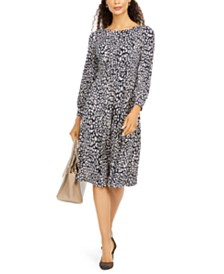 Jessica Howard Petite Printed Ruched-Waist Midi Dress