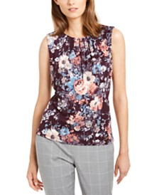 Calvin Klein Floral Printed Pleated-Neck Top