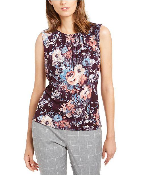 Calvin Klein Petite Floral Print Pleat-Neck Top