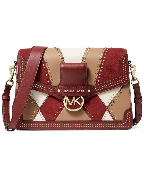 Michael Kors Jessie Large Flap Leather Shoulder Bag
