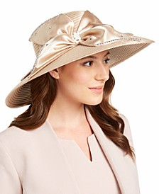 Satin Widebrim Hat With Jeweled Trim