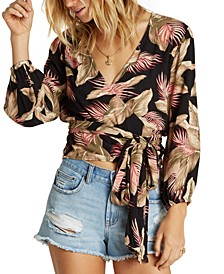 Juniors' Love Wrapped Floral-Print Wrap Top
