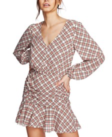 1.STATE Plaid Ruched Ruffle Dress