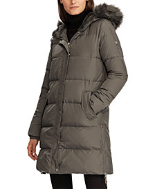 Lauren Ralph Lauren Faux-Fur Trim Hooded Puffer Coat
