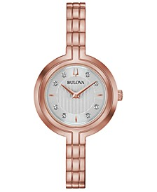 Women's Rhapsody Diamond-Accent Rose Gold-Tone Stainless Steel Bracelet Watch 30mm