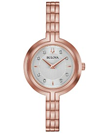 Bulova Women's Rhapsody Diamond-Accent Rose Gold-Tone Stainless Steel Bracelet Watch 30mm
