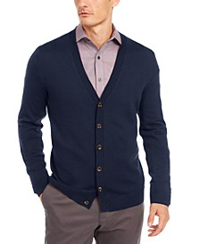 Men's Solid Merino Wool Blend Cardigan, Created for Macy's