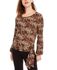 BCX Juniors' Leopard-Print Side-Tie Top