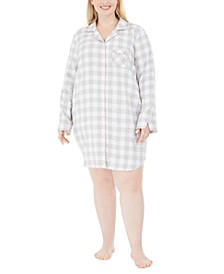 Plus Size Cotton Flannel Sleepshirt Nightgown, Created for Macy's