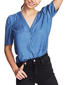 Leopard-Print Puff-Sleeve Shirt