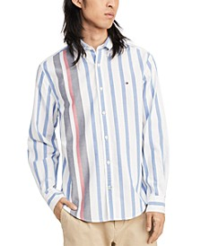 Men's Custom-Fit Gould Stripe Oxford Shirt, Created for Macy's