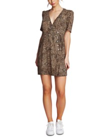1.STATE Leopard Printed Wrap-Front Dress