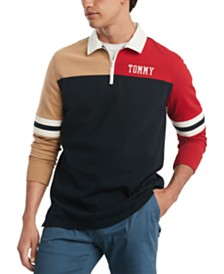 Tommy Hilfiger Men's Big & Tall Hale Colorblock Long Sleeve Polo Rugby Shirt, Created for Macy's