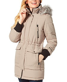 Long Quilted Coat with Faux Fur Hood