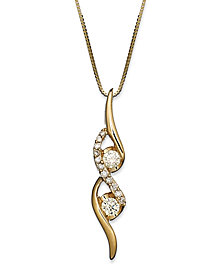 Sirena Diamond Two-Stone Spiral Pendant Necklace in 14k Gold or White Gold (1/4 ct. t.w.)