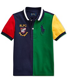 Toddler Boys Color-Blocked Cotton Mesh Polo Shirt