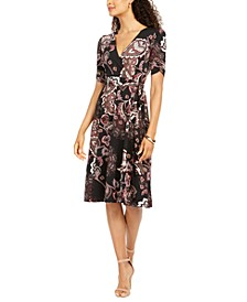 Petite Ruched-Sleeve Faux-Wrap Midi Dress