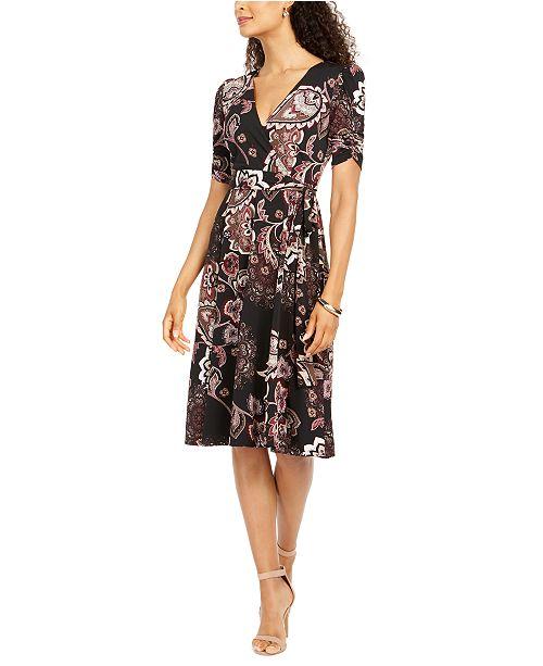 Jessica Howard Petite Ruched-Sleeve Faux-Wrap Midi Dress