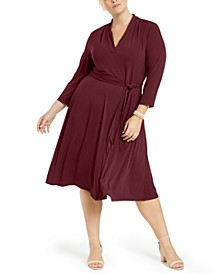 Plus Size V-Neck Belted Dress, Created for Macy's