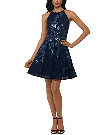 Sequined Lace Fit & Flare Dress
