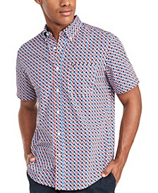 Men's Custom-Fit Louis Geometric Print Short Sleeve Shirt, Created for Macy's