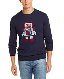 Men's Robot Graphic Pima Cotton Crew Neck Sweater, Created for Macy's