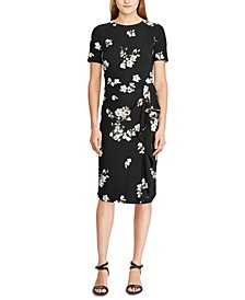 Petite Floral-Print Ruffle-Trim Dress
