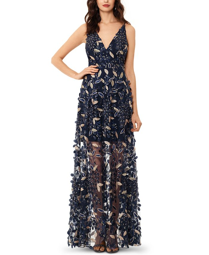 XSCAPE - 3D Embroidered Floral Gown