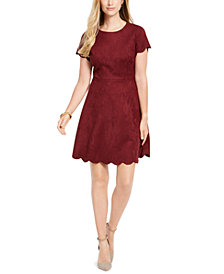 Pappagallo Faux-Suede Scalloped Dress