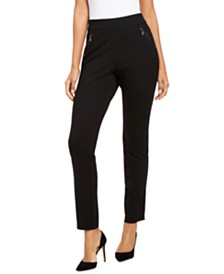 I.N.C. Curvy Zippered Straight-Leg Pants, Created for Macy's