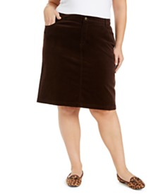 Charter Club Plus Size Corduroy Skirt, Created for Macy's