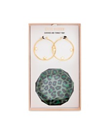 "Steve Madden Medium Gold Star Hoop 1-1/4"" and Trinket Tray Gift Set"
