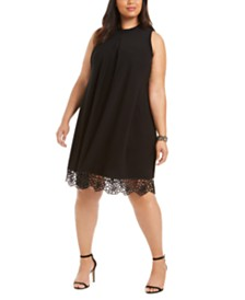 Robbie Bee Plus Size Lace-Hem Trapeze Dress