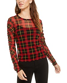 Plaid Mesh Top, Created for Macy's