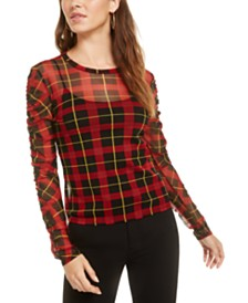 Bar III Plaid Mesh Top, Created for Macy's
