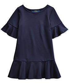Little Girls Ponte Roma Bell-Sleeve Dress