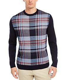 Men's Plaid Panel Merino Wool Blend Sweater, Created for Macy's