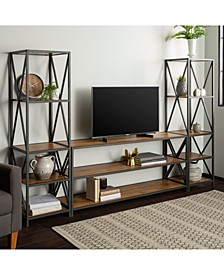 3 Piece Industrial Bookcase Set