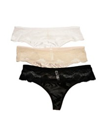 BCBGMAXAZRIA 3 Pack Satin with Lace Hipster Thong