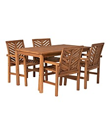 5 Piece Chevron Outdoor Patio Dining Set