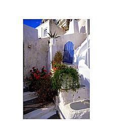 """- White Stairs Blue Gate Canvas Art, 18"""" x 24"""""""