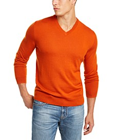 Men's Solid V-Neck Merino Wool Sweater, Created for Macy's