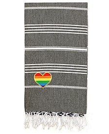 100% Turkish Cotton Lucky Cheerful Rainbow Heart Pestemal Beach Towel