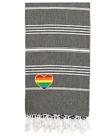 Linum Home 100% Turkish Cotton Lucky Cheerful Rainbow Heart Pestemal Beach Towel
