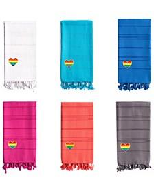 100% Turkish Cotton Summer Fun Cheerful Rainbow Heart Pestemal Beach Towel