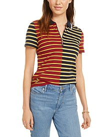 Striped Piqué Zip Polo Shirt