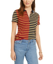 Tommy Hilfiger Striped Piqué Zip Polo Shirt